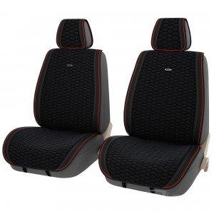 Накидки на сиденья Черные + Красная полоса цена за 2шт